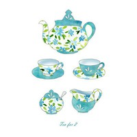Tea for 2 Art Print Naive Nostalgic Retro by TheJoyofColor
