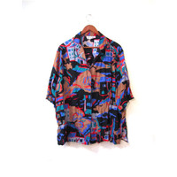 Vintage 80s Unisex Oversized Abstract Print Button Up Blouse s m l
