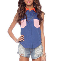 Color Block-It Button Down Shirt in Dusty Blue :: tobi
