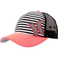 Hurley Girls Striped Black &amp; Coral Snapback Trucker Hat
