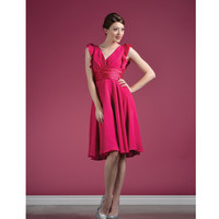 2013 Prom Dresses- Fuchsia Chiffon Ruffle Sleeve Short Dress - Unique Vintage - Prom dresses, retro dresses, retro swimsuits.