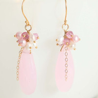 rose quartz earrings vermeil mystic topaz pearls by Phaness