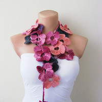 Pink Purple Salmon Flower Hand Crochet Lariat Scarf by fairstore