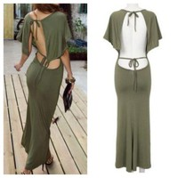 Sexiest Open Back Green Army Long dress