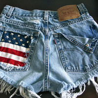 Levis high waist destroyed denim shorts super frayed with American flag and studs size Sm