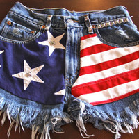 High waist destroyed studded denim super frayed shorts 1