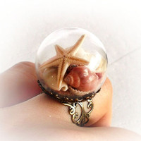 Summer in a bubble, glass dome ring with sea shells, starfish and sand