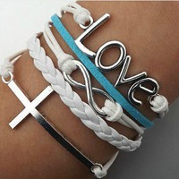Cross, love alphabet white braided rope bracelet