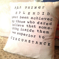 Linen Pillow Cover  Handmade and Hand Stamped Quote by CasaAndCo