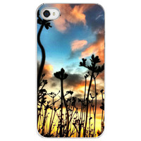 iPhone 4 /4S case Calico Skies flowers orange by SkyeZPhotography