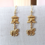 Vintage Carousel and Horse Brass Charm Earrings