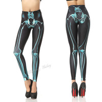 Cool Blue X-ray Skeleton Color Printing Leggings Pants from Galaxy Leggings