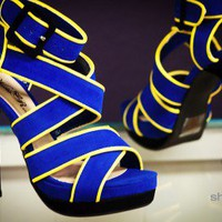 Wild Rose Kobe-48 Royal Blue Criss Cross Strappy Stiletto Heel - Shoes 4 U Las Vegas