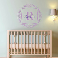 "Personalized Scroll Frame and Initial Wall Decal Monogram Nursery Wall Decal Girl Name 22"" X 22"""