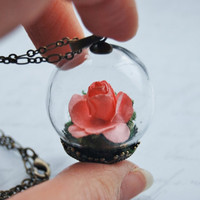 Miniature Rose Necklace 1 Glass Globe Portable Garden Botanical Handmade Pink Love Romance Moss Kitch