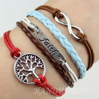 Silvery Faith Bracelet Wishing Tree Bracelet Infinity Karma Bracelet Wish Bracelet Personalized Charm Bracelet -n1178