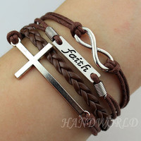 Silvery Cross Bracelet Infinity Karma Bracelet Wish Bracelet Faith Bracelet Friendship Bracelet Gift -N1177