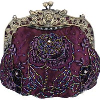 Purple Antique Beaded Rose Evening Handbag, Clasp Purse Clutch w/Removable Chain: Clothing