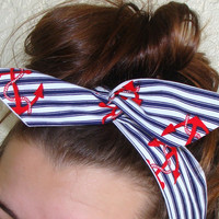 Dolly Bow, Blue and White Striped with Red Anchors, Pin Up Wire Headband Rockabilly Teen Woman
