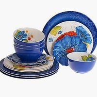 Laurie Gates Forget Me Nots 16-Piece Outdoor Dinnerware Set — QVC.com