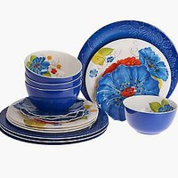 Laurie Gates Forget Me Nots 16-Piece Outdoor Dinnerware Set  QVC.com