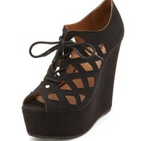 Laser-Cut Lace-Up Ghillie Wedge: Charlotte Russe