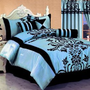 "7 Pc Modern Black Blue Flock Satin Comforter (90"" x 92"") SET / BED in a BAG - Queen Size Bedding"
