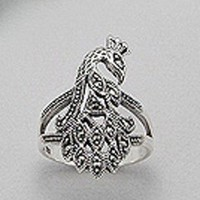 Sterling Silver Marcasite Peacock Ring
