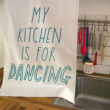 Kitchen Dancing Tea Towel copyright by Joyofexfoundation on Etsy