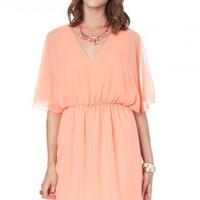 Peach Flutter Dress - ShopSosie.com