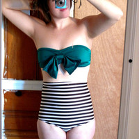Floppy bow retro vintage inspired bandeau swim top in by h0tsecond