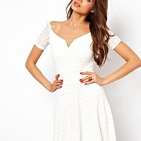 TFNC Off Shoulder Skater Dress in Lace at asos.com