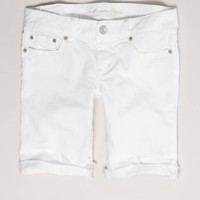 AEO Women's White Denim Bermuda Short (White)