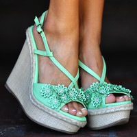 Flower Power Wedges: Seafoam Green | Hope's