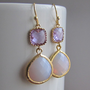 SALE 10% - Lavender-Violet opal framed glass earrings in gold, dangle earrings, drop, chandelier earrings, wedding jewelry, bridesmaid