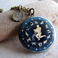 Aquarius Zodiac Jewelry Aquarius Locket by amandadavie on Etsy