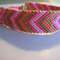 I Want Candy  NEON CHEVRON Pink Green Friendship by greenyogini