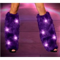 Light Up Furry Leg Warmer GOGO Fluffys(WHITE,ONE SIZE)