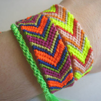 Love Shack  NEON CHEVRON Orange Navy Purple by greenyogini on Etsy