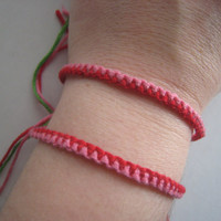 PINK &amp; Red Friendship Bracelet SET  Zipper Style  by greenyogini