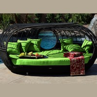 Patio Furniture | Handcrafted Outdoor Wicker Daybed | For Better Homes and Gardens | Rose Garden Seating | Green