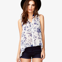 High-Low Floral Shirt