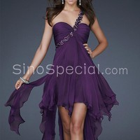 Fashion A-line One-shoulder Asymmetrical Chiffon Prom Dress -SinoSpecial.com