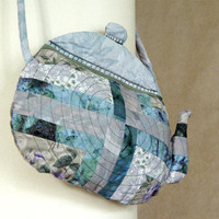 Quilted teapot purse in grey by BozenaWojtaszek on Etsy