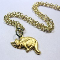 lil kitten necklace by trophies on Etsy