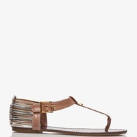 Strappy Metallic Thong Sandals