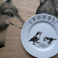 Birds and Crumbs  Hand Painted Porcelain Side Plate by jimbobart