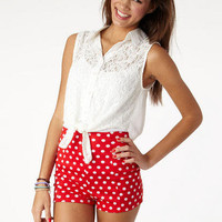 Red High Waist Polka Dot Short