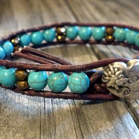 Blue Magnesite Leather Wrap Bracelet, Southwestern Chic, Boho, Chan Luu, Mothers Day Gift