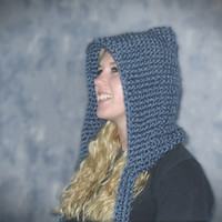 Knit Teen / Adult Size Chunky Pixie Hat / Hood - Washington Denim - Dark Blue - Warm - Thick- Ready-To-Ship